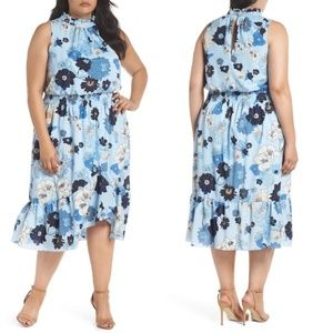 NEW Vince Camuto Floral Ruffle Neck Midi Dress